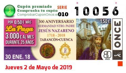 Cupón ONCE premiado el Martes 30/1/2018