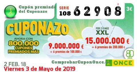 Cuponazo ONCE premiado el Viernes 2/2/2018
