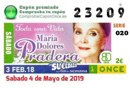 Sueldazo ONCE premiado el Sabado 3/2/2018