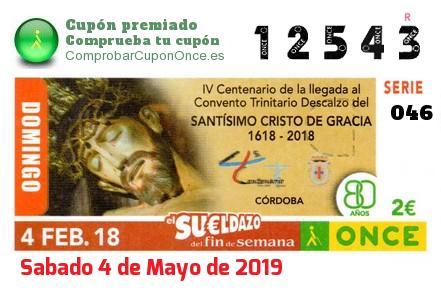 Sueldazo ONCE premiado el Domingo 4/2/2018