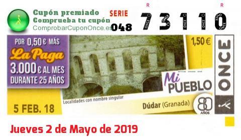 Cupón ONCE premiado el Lunes 5/2/2018