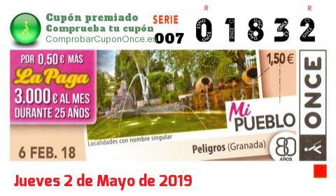 Cupón ONCE premiado el Martes 6/2/2018
