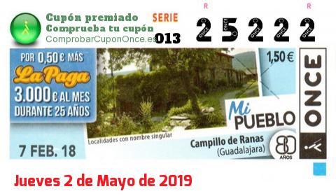 Cupón ONCE premiado el Miercoles 7/2/2018