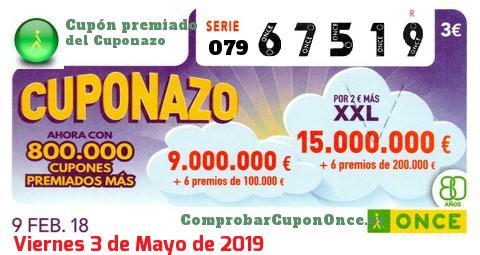 Cuponazo ONCE del Viernes 9/2/2018
