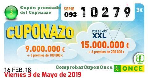 Cuponazo ONCE del Viernes 16/2/2018