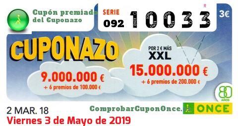 Cuponazo ONCE premiado el Viernes 2/3/2018