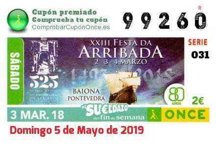 Sueldazo ONCE premiado el Sabado 3/3/2018