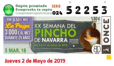 Cupón ONCE premiado el Lunes 5/3/2018