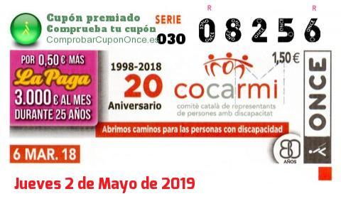 Cupón ONCE premiado el Martes 6/3/2018
