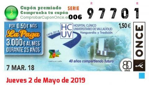 Cupón ONCE premiado el Miercoles 7/3/2018