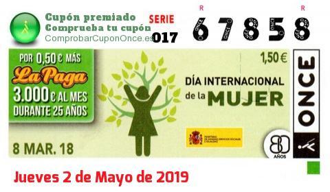 Cupón ONCE premiado el Jueves 8/3/2018