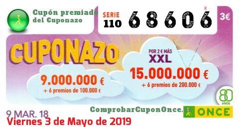 Cuponazo ONCE premiado el Viernes 9/3/2018