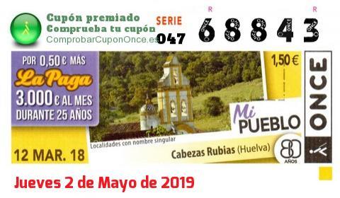 Cupón ONCE premiado el Lunes 12/3/2018