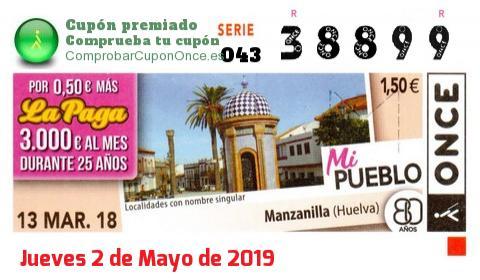 Cupón ONCE premiado el Martes 13/3/2018