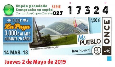 Cupón ONCE premiado el Miercoles 14/3/2018