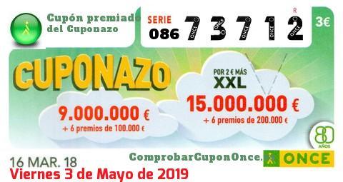 Cuponazo ONCE premiado el Viernes 16/3/2018