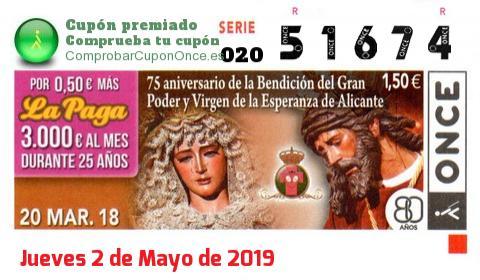 Cupón ONCE premiado el Martes 20/3/2018