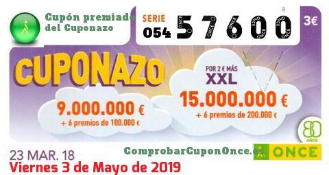 Cuponazo ONCE premiado el Viernes 23/3/2018