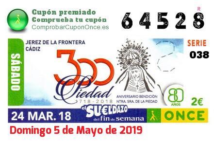 Sueldazo ONCE premiado el Sabado 24/3/2018