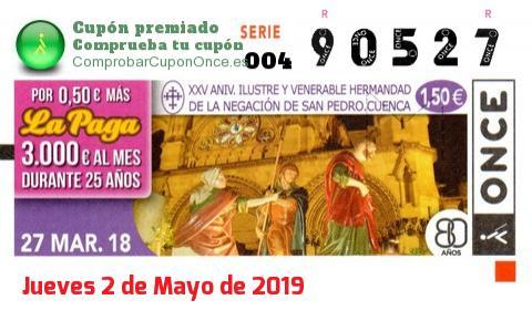 Cupón ONCE premiado el Martes 27/3/2018