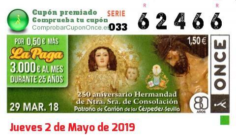 Cupón ONCE premiado el Jueves 29/3/2018