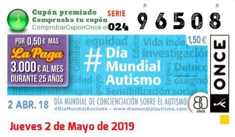 Cupón ONCE premiado el Lunes 2/4/2018