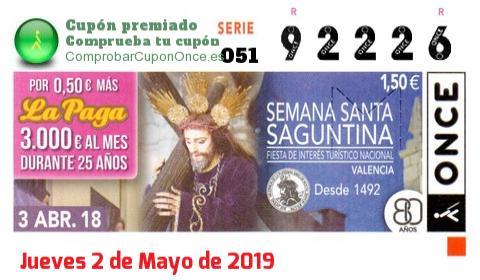 Cupón ONCE premiado el Martes 3/4/2018