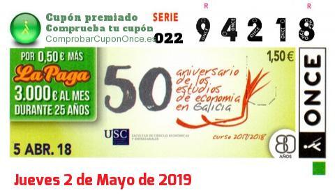 Cupón ONCE premiado el Jueves 5/4/2018
