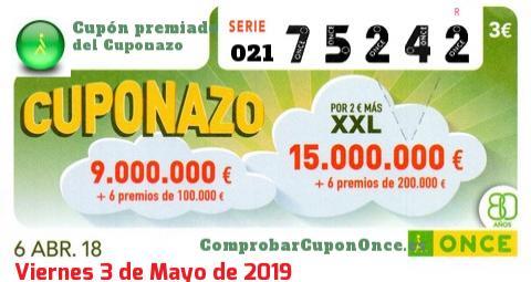 Cuponazo ONCE premiado el Viernes 6/4/2018