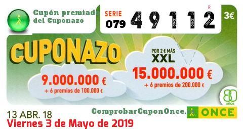 Cuponazo ONCE premiado el Viernes 13/4/2018