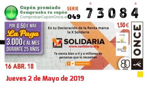 Cupón ONCE premiado el Lunes 16/4/2018