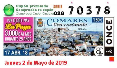 Cupón ONCE premiado el Martes 17/4/2018
