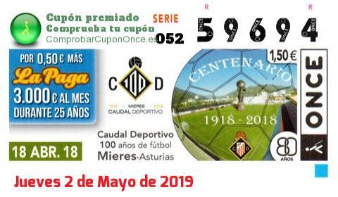 Cupón ONCE premiado el Miercoles 18/4/2018