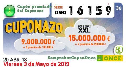 Cuponazo ONCE premiado el Viernes 20/4/2018
