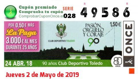 Cupón ONCE premiado el Martes 24/4/2018