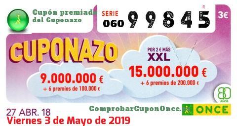 Cuponazo ONCE premiado el Viernes 27/4/2018