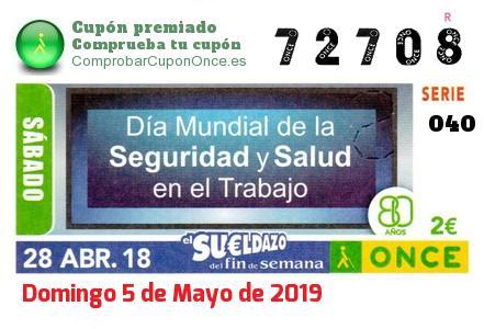 Sueldazo ONCE premiado el Sabado 28/4/2018