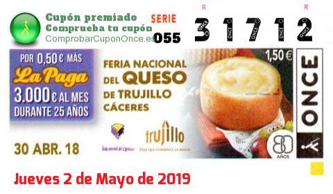Cupón ONCE premiado el Lunes 30/4/2018