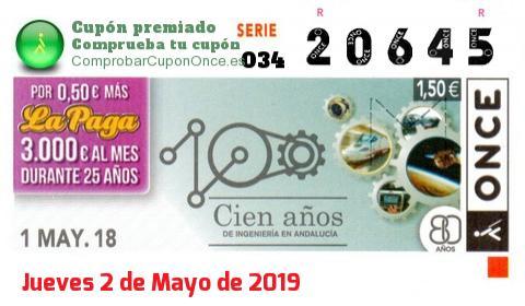 Cupón ONCE premiado el Martes 1/5/2018