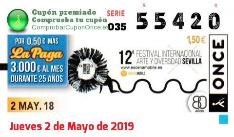 Cupón ONCE premiado el Miercoles 2/5/2018