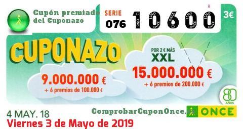 Cuponazo ONCE premiado el Viernes 4/5/2018