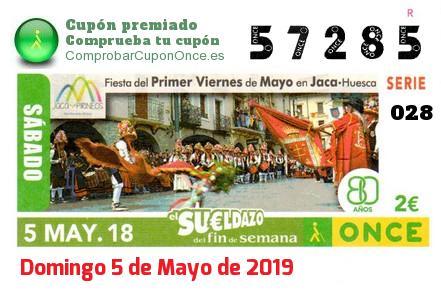 Sueldazo ONCE premiado el Sabado 5/5/2018