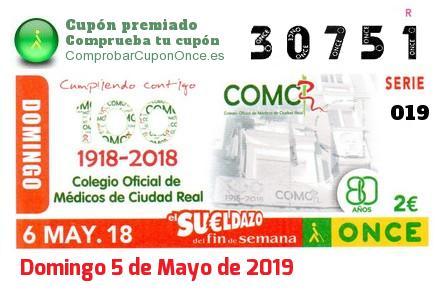 Sueldazo ONCE premiado el Domingo 6/5/2018