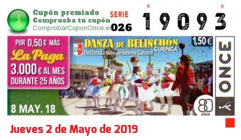 Cupón ONCE premiado el Martes 8/5/2018