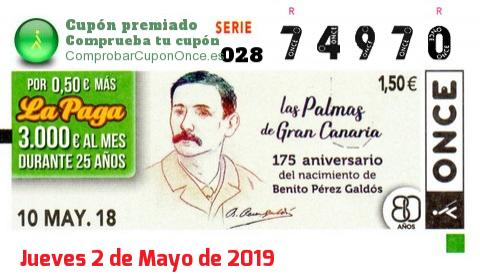 Cupón ONCE premiado el Jueves 10/5/2018