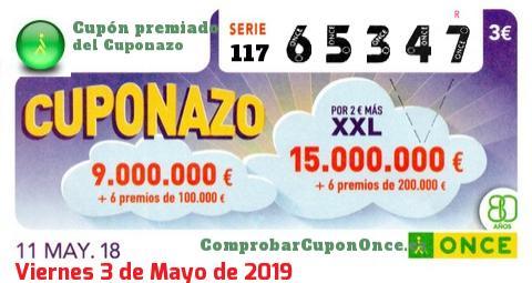 Cuponazo ONCE premiado el Viernes 11/5/2018
