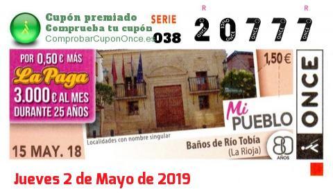 Cupón ONCE premiado el Martes 15/5/2018