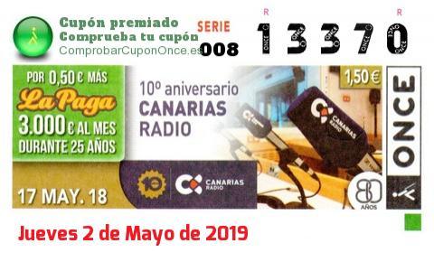 Cupón ONCE premiado el Jueves 17/5/2018