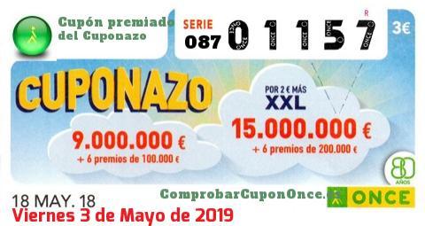 Cuponazo ONCE premiado el Viernes 18/5/2018