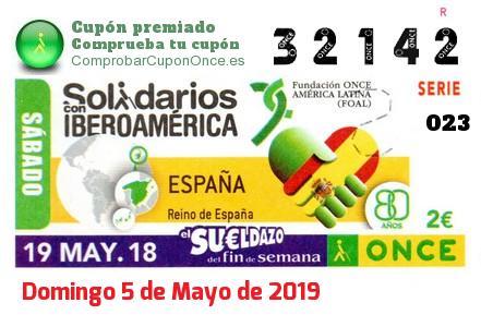 Sueldazo ONCE premiado el Sabado 19/5/2018